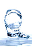 Aqua Sculpture Droplets Collision. Water Drop Impact On The Liquid Surface White Background Stock Photos