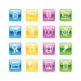 Aqua server icons. Vector file has layers, all icons in four versions are included Royalty Free Stock Photo