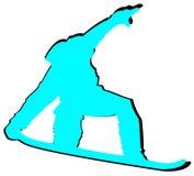 Aqua Snowboarder Flat Icon su fondo bianco illustrazione di stock