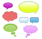 Aqua speech bubbles. Blank aqua speech bubbles in different colors and shapes isolated on white stock illustration