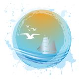 Aqua sphere with sea landscape Royalty Free Stock Images