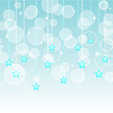 Aqua Stars Background. Gradient background with stars and flowing circles Royalty Free Stock Photo