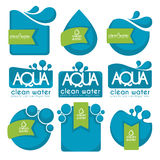 Aqua stickers. Clean and fresh water, stickers, labels, tags and icons vector collection Stock Images