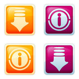Aqua style - Download. Set of visually appealing buttons in Web 2.0 style, enticing to Get / Download / View / Read / Important / Information / Accentuation Stock Photography