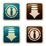 Aqua style - Get / Info. Set of visually appealing buttons in Web 2.0 style, enticing to Get / Download / View / Read / Important / Information / Accentuation Royalty Free Stock Photography