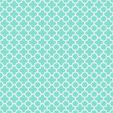 Aqua & teste padrão branco do quatrefoil, fundo sem emenda da textura Imagens de Stock Royalty Free