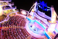 Aqua Theater onboard Oasis Of the Seas. The beautiful outdoor Aqua Theater on board the biggest cruise ship in the world Oasis of the seas owned by Royal Stock Photos