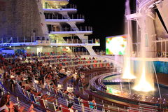 Aqua Theater onboard Oasis Of the Seas. The beautiful outdoor Aqua Theater on board the biggest cruise ship in the world Oasis of the seas owned by Royal Stock Photo