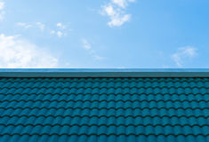 Aqua tile roofing with blue sky Royalty Free Stock Photo
