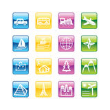 Aqua travel icons. Vector file has layers, all icons in four versions are included Royalty Free Stock Photo