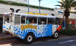 Aqua-truck family fun ride. Family fun ride with the amphibious vehicle Quackr Duck - a land and water adventure offered in Surfers Paradise, Gold Coast stock image