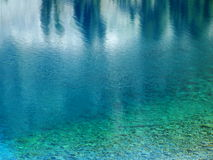 Aqua Water Hues. Reflections and color hues highlight the waters of the mountain lake Royalty Free Stock Photos