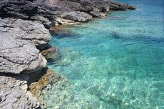 Aqua water and rocks stock image