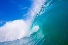 Aqua Wave. Large Blue Surfing Wave Breaks in Ocean Stock Image