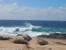 Aqua Waves sulla spiaggia hawaiana immagini stock libere da diritti