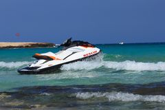 Aquabike in the Mediterranean Sea. Ayia Napa. Cyprus. Stock Photos