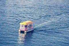 Aquabus Boat to Granville Island Vancouver. Beautiful sea. stock photos