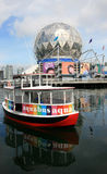 Aquabus at Science World. VANCOUVER, BC - SEPTEMBER 5: A water taxi in False Creek at Science World on September 5, 2008 in Vancouver, British Columbia, Canada stock photos