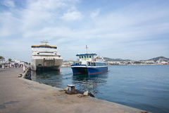Aquabus small ferry boat to Formentera Royalty Free Stock Images