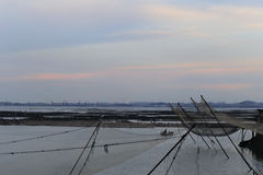 Aquaculture of fishing village under sunset Royalty Free Stock Photos
