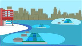 Aquaculture, smart city idea. Smart industries
