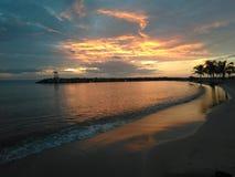 Aquadillia波多黎各海湾日落 库存照片