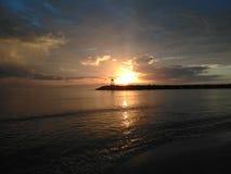Aquadillia波多黎各海湾日落 免版税图库摄影