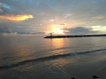 Aquadillia Puerto Rico Bay Sunset royaltyfri foto