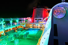 Aquaduck slide on open deck of cruise ship. Orlando, USA - August 24, 2014: Aquaduck slide on open deck of cruise ship at night time. Empty open deck od cruise Royalty Free Stock Image