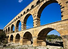 Aquaduct. Aqueduct Pont du Gard, France Royalty Free Stock Images