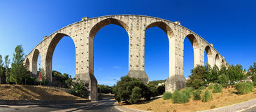 Aquaduct panorama. Beautiful wide angle panorama of the Aguas Livres Aqueduct in Lisbon, Portugal royalty free stock image