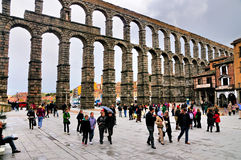 Aquaduct of Segovia, Spain royalty free stock photo