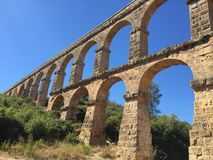 Aquaduct at Tarragona. Roman aquaduct at Tarragona in Spain Stock Photos