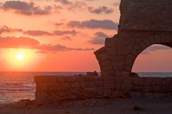 Aquaeductus in sunset. A Roman aquaeductus to supply water to Caesarea Stock Photo