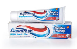 Aquafresh Toothpaste with Sugar Acid Protection. Stock Images