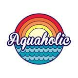 Aquaholic label Stock Photography