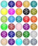 Aquaknopen van Kerstmis met sneeuwvlokken Royalty-vrije Stock Afbeeldingen