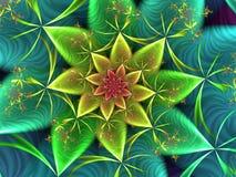 Aquamarine Abstract. Aquamarine Coloured Abstract Fractal Flower Image stock illustration