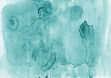 Abstract aquamarine watercolor background. The color splashing o. Aquamarine abstract watercolor art hand paint on paper texture. Modern background for design Royalty Free Stock Photography