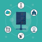 Aquamarine background with server icon in closeup and networking icons around. Vector illustration vector illustration