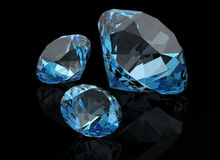 Aquamarine on black background ( 3D image) Stock Image
