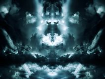 Aquamarine clouds. Saturated storm clouds against the dark sky, dark aquamarine tint Royalty Free Stock Image