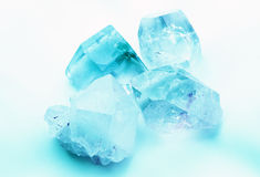 Aquamarine Colored Quartz Crystals Stock Photo