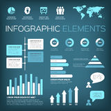 Aquamarine colour infographic elements. Collection of infographic vector illustration elements with world map and icons. Aquamarine colour on gradient background Royalty Free Stock Photos