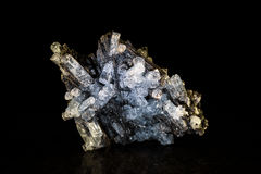 Aquamarine crystal and black tourmaline Royalty Free Stock Images