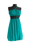 Aquamarine dress with black belt on a mannequin Stock Photography