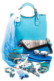 Aquamarine fashion accessories Stock Photos