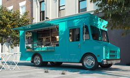Aquamarine food truck with detailed interior on street. Takeaway. 3d rendering. Aquamarine realistic food truck with detailed interior on street. Modern royalty free stock photos