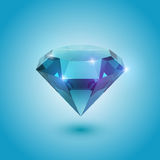 Aquamarine gem. A beautiful aquamarine gem on a gradient background vector illustration