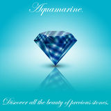 Aquamarine gem 2. Realistic aquamarine on a light background with a specular reflection Royalty Free Stock Photo